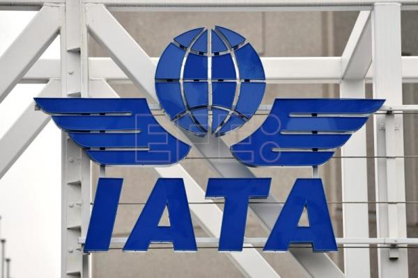 The logo of the International Air Transport Association (IATA) at the IATA center in Geneva, Switzerland, Dec 13, 2012. EFE-EPA (FILE)/MARTIAL TREZZINI