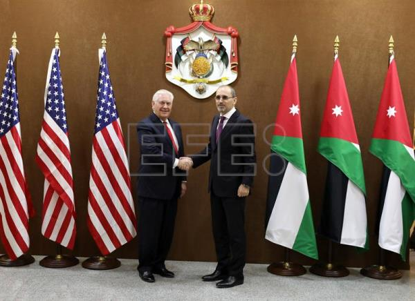 US Secretary of State Rex Tillerson (L) and Jordan Foreign Minister Ayman Safadi pose for a photograph during their meeting to sign Memorandum Of Understanding (MOU) between their two countries, in Amman, Jordan, Feb. 14, 2018. EPA-EFE/ANDRE PAIN