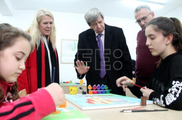 Slovakian Member of the European Parliament belonging to the Group of the European People's Party (Christian Democrats) Eduard Kukan (C) visits the Ardian Klosi school in Tirana, Albania, Feb. 14, 2018. EPA-EFE/MALTON DIBRA