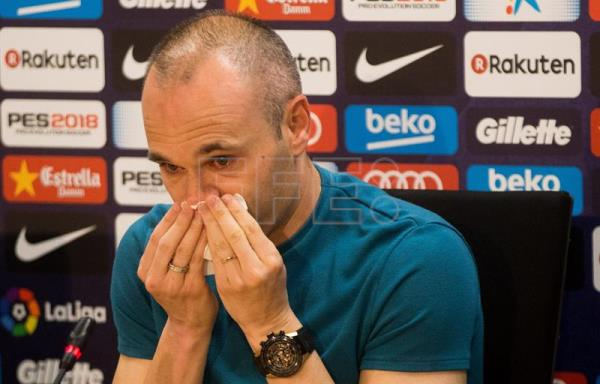 FC Barcelona's Spanish midfielder Andres Iniesta during a press conference to announce his departure from the Spanish club by the end of the season, at Joan Gamper sports city in Barcelona, northeastern Spain, April 27, 2018. EPA-EFE file/Enric Fontcuberta
