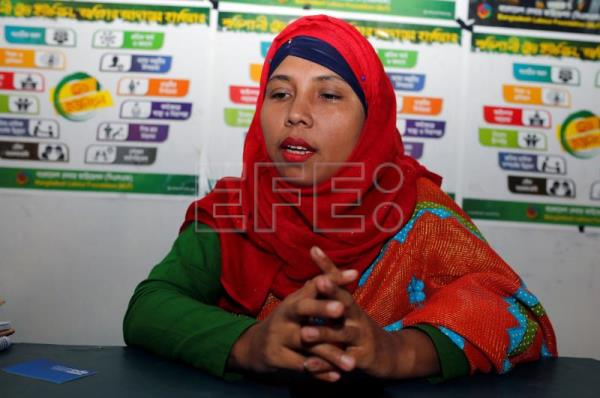 Morium Akhter, vice-president of the Bangladesh Textile and Garment Workers League (BTGWL) trade union, speaks with reporters in Dhaka, Bangladesh, Feb. 2, 2019. EPA-EFE/MONIRUL ALAM
