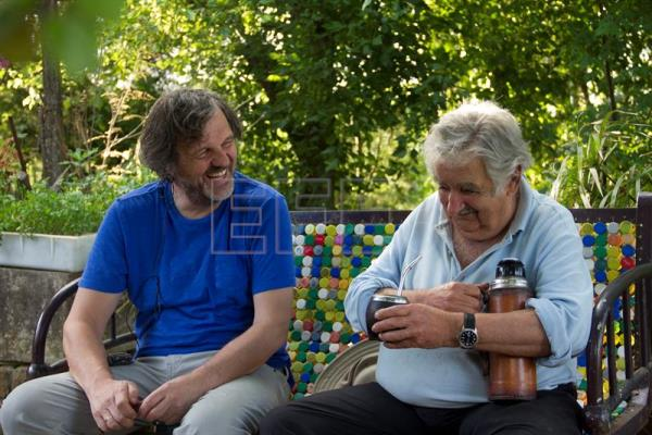 Production company K&S Films provided on Wednesday, July 25, this photo of director Emir Kusturica (L) chatting with former Uruguayan President Jose Mujica at the latter's small farm on the outskirts of Montevideo. EFE-EPA/K&S Films