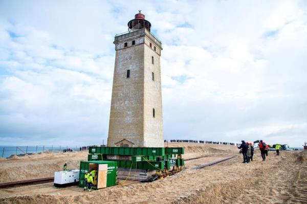 Erosion-threatened lighthouse in Denmark moved away from sea