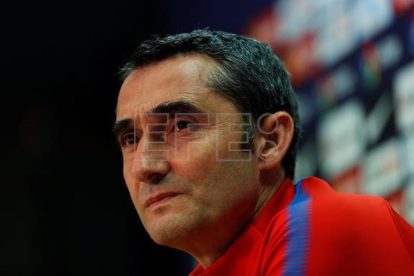 FC Barcelona head coach Ernesto Valverde attends a press conference in Sant Joan Despi, Spain, on April 16, 2018. EPA-EFE/Alejandro Garcia