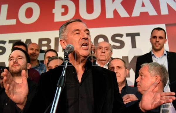 Montenegro's former Prime Minister and Democratic Party of Socialists leader Milo Djukanovic (C) speaks during a meeting with his supporters in Podgorica, Montenegro, 15 April 2018. EFE