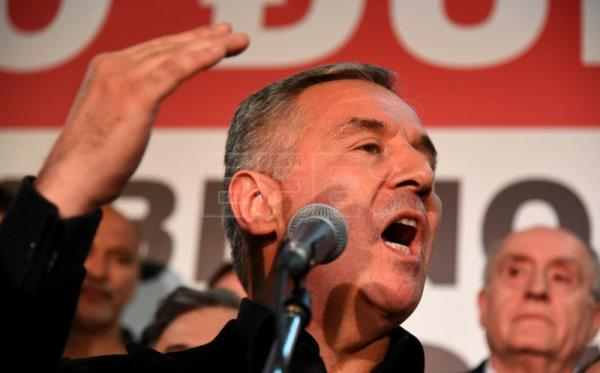 Montenegro's former Prime Minister and Democratic Party of Socialists leader Milo Djukanovic speaks during a meeting with his supporters in Podgorica, Montenegro. EFE