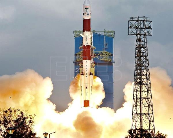 A handout photo made available by the Indian Space Research Organization (ISRO) shows Polar Satellite Launch Vehicle (PSLV-C40) lifting off from Sriharikota in Andhra Pradesh, India, Jan. 12, 2018. EPA-EFE/ISRO/HANDOUT