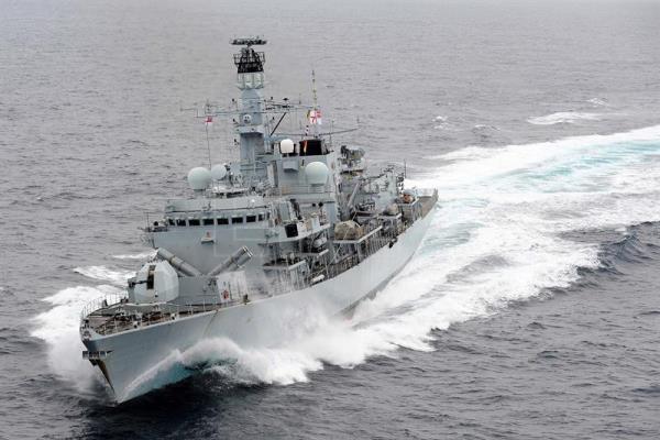HMS Montrose drives of Iranian boats pursuing British tanker