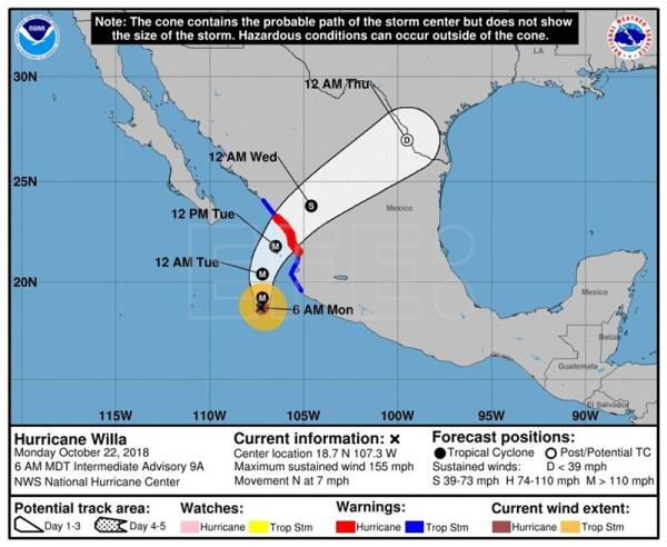 Hurricane Willa strengthens to Category 5 as it nears Mexico