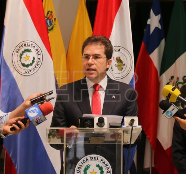 Paraguayan Foreign Minister Luis Alberto Castiglioni delivers a press conference at the Foreign Ministry, in Asuncion, Paraguay, Sept. 5, 2018. EPA-EFE/Alejandro R. Otero