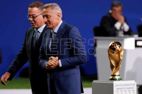 The chairman of the Morocco 2026 bid committee, Moulay Hafid Elalamy (R) and the president of the Moroccan soccer federation Fouzi Lekjaa leave the stage after the presentation of the Morocco 2026 FIFA World Cup bid at the 68th FIFA Congress in Moscow, Russia, June 13, 2018. EPA-EFE/FELIPE TRUEBA