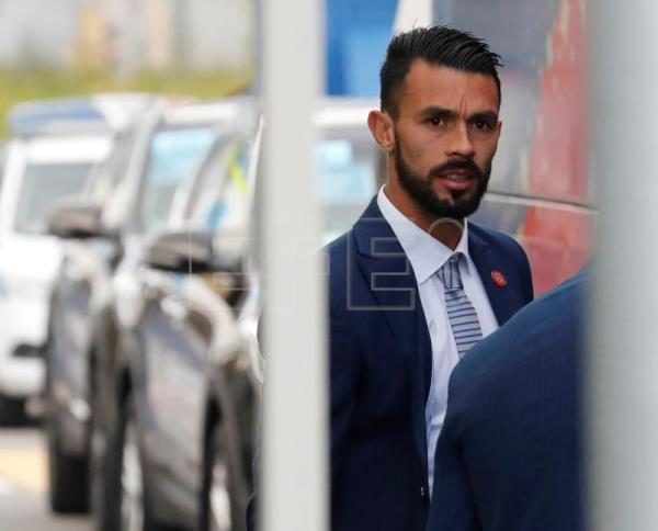 Costa Rican national soccer player Giancarlo Gonzalez boards a bus upon arrival at St. Petersburg Pulkovo airport, Russia. EFE