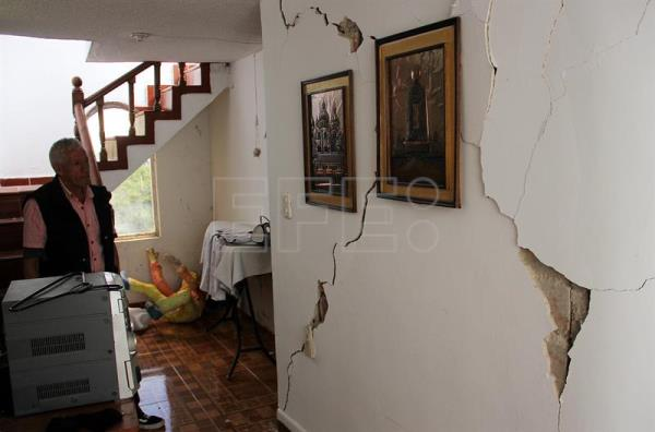 Photograph showing the inside of a house damaged by an earthquake in Pasto, Colombia, Jun 12, 2018. EPA-EFE/STR