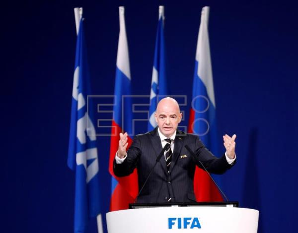 FIFA president Gianni Infantino addresses the delagates at the opening of the 68th FIFA Congress in Moscow, Russia, 13 June 2018. EFE