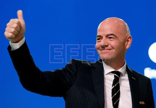 FIFA president Gianni Infantino during the 68th FIFA Congress in Moscow, Russia, June 13, 2018. EPA-EFE/FELIPE TRUEBA