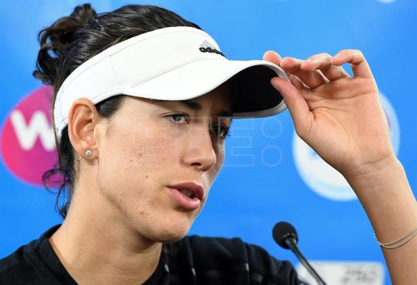 Garbiñe Muguruza of Spain looks on during a press conference after retiring from her second round match against Aleksandra Krunic of Serbia at the Brisbane International Tennis tournament in Brisbane, Queensland, Australia, Jan. 2, 2018. EPA-EFE/DAVE HUNT