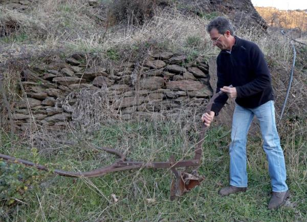 Antonio Pérez demonstrates his mule-drawn plow on his farmland in the Alpujarra valley, near Pampaneira, Spain, Feb 9, 2018. EFE/J.J. Guillen