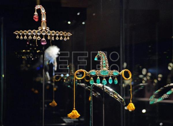 Some jewels from the al-Thani Collection on display at the Doge's Palace in Venice, Italy, Jan. 3, 2018. EPA-EFE/ANDREA MEROLA