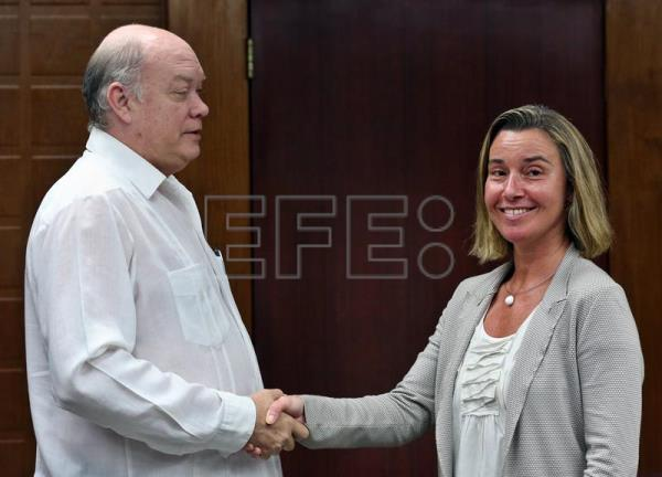 European Union High Representative for Foreign Affairs and Security Policy, Federica Mogherini (R) meets with the Cuban Minister of Foreign Trade and Investment Rodrigo Malmierca in Havana, Cuba, Jan. 3, 2018. EPA-EFE/Alejandro Ernesto POOL