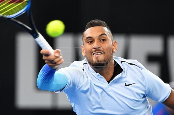 Nick Kyrgios of Australia returns during his second round match against Matthew Ebden of Australia at the Brisbane International Tennis tournament in Brisbane, Queensland, Australia, Jan. 3, 2018. EPA-EFE/DAVE HUNT
