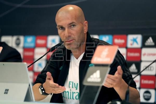 Real Madrid's French head coach Zinedine Zidane attends a press conference at Valdebebas Sport City facilities in Madrid, Spain, on Jan. 03, 2018. EPA-EFE/CHEMA MOYA