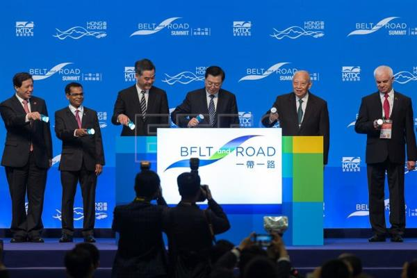 (FILE) Zhang Dejiang, Chairman of the Standing Committee of the National People's Congress (C), Leung Chun Ying, Hong Kong's Chief Executive (2-L), and Tung Chee-hwa, Hong Kong' former Chief Executive (R), attend the opening ceremony of the Belt and Road Summit at the Hong Kong Convention Centre in Hong Kong, China, May 18, 2016. EPA/JEROME FAVRE
