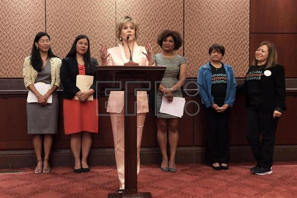 US actress and activist Jane Fonda (front) speaks  during a conference organized by several women's associations at the US Congress in Washington, DC, United States, July 12, 2018. EPA-EFE/Lenin Nolly
