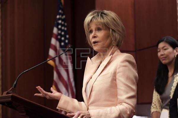 US actress and activist Jane Fonda speaks during a conference organized by several women's associations at the US Congress in Washington, DC, United States, July 12, 2018. EPA-EFE/Lenin Nolly