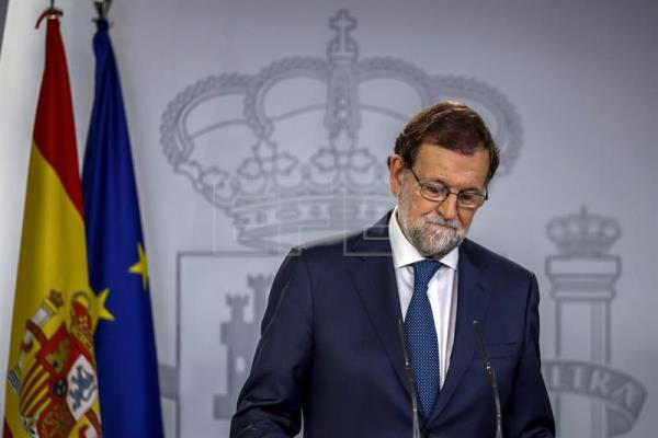 Spanish Prime Minister, Mariano Rajoy, reacts during a press conference at the end of an extraordinary Cabinet meeting held at the Palace of La Moncloa, in Madrid, Spain, on Sept. 7. EPA-EFE/Emilio Naranjo