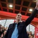 Spanish Prime Minister Pedro Sanchez (C) waves his supporters upon his arrival for the presentation of the Spanish Socialist Party's candidate for Santander's Mayorship in Santander, northern Spain, Feb. 10, 2019. EPA-EFE/Pedro Puente Hoyos