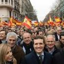 Spanish People's Party President, Pablo Casado (C), next to several Spanish regional Presidents take part in a rally, called by Spanish opposition parties People's Party and Ciudadanos (Citizens) party under the motto 'For an United Spain. Election Now!', to ask for general election in Madrid, Spain, Feb. 10, 2019. EPA-EFE/FERNANDO VILLAR