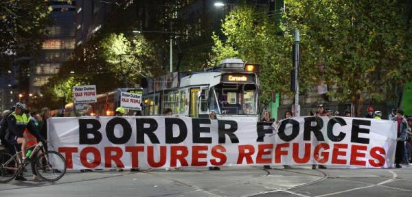 Protesters block Swanston Street at a vigil for refugees who have died on Manus Island, at the the State Library of Victoria in Melbourne, Victoria, Australia, May 25, 2018. EPA-EFE FILE/DAVID CROSLING AUSTRALIA AND NEW ZEALAND OUT