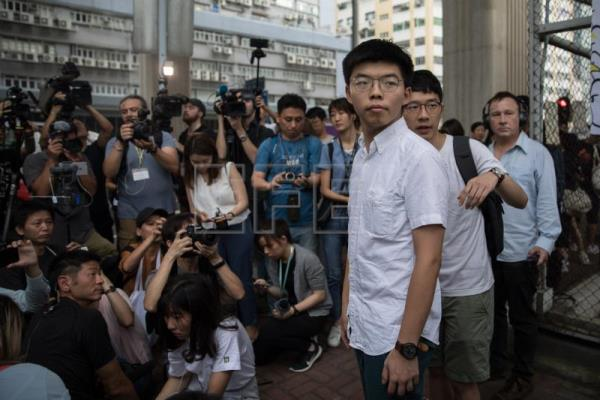 Hong Kong activist Joshua Wong leaves the Lai Chi Kok Correctional Institute