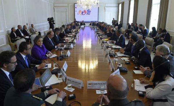 Photo provided by Colombia's Presidency showing a general view of a meeting between members of the Colombian Government and members of the United Nations Security Council at Casa de Nariño presidential palace in Bogota, Colombia on May 4, 2017. EFE/Colombia's Presidency/Cesar Carrion