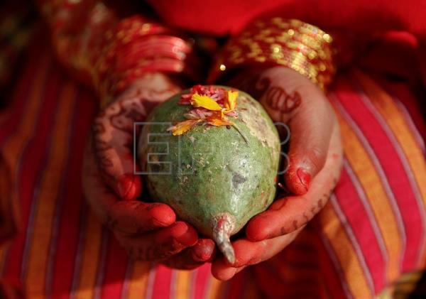(FILE) A close-up view of the decorated hands of a Nepalese girl holding the holy fruit 'Bel' while taking part in the ceremony 'Bel Bibaha or Ehee' in Kathmandu, Nepal, 16 December 2015. Thirty-seven percent of Nepali girls get married before reaching the age of 18, and 10 percent before 15, according to a report published 08 September 2016 by Human Rights Watch (HRW), which urges the government to take steps against the illegal practice of child marriage. EPA/NARENDRA SHRESTHA