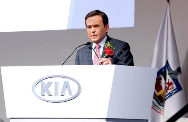 Mexican Economy Secretary Ildefonso Guajardo speaks during Wednesday's official opening of South Korean automaker Kia Motors' new manufacturing plant in the northern Mexican state of Nuevo Leon. EFE/Economy Secretariat
