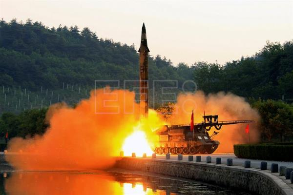 (FILE) An undated photo made available by the North Korean Central News Agency (KCNA), the state news agency of North Korea, shows the test-fire of a ballistic rocket equipped with precision guidance system, at an undisclosed location in North Korea (reissued 08 June 2017). EPA/KCNA/EDITORIAL USE ONLY