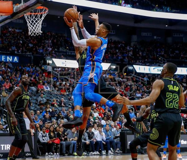 Westbrook records 100th career triple-double as Thunder defeat Hawks