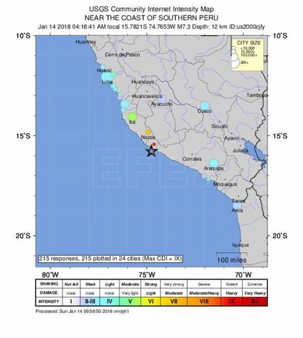 An intensity map released by the US Geological Survey (USGS) on 14 January 2018 indicates the epicenter of a 7.3-magnitude earthquake near the coast of southern Peru at 09:18 UTC, on 14 January 2018. A 7.3 magnitude earthquake was reported at 12 kilometres depth off the southern Peruvian coast near Acari. (Terremoto/sismo) EFE