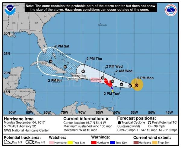 Hurricane Irma moves west, threatens Caribbean with 240 kph winds, heavy rain