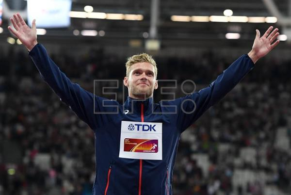 Gold medalist Kevin Mayer of France reacts during the awarding ceremony of the Decathlon at the London 2017 IAAF World Championships in London, Britain. EFE