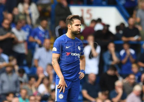 Chelsea Cesc Fabregas reacts during the English Premier league game between Chelsea and Burnley at Stamford Bridge stadium in London, Britain, 12 August 2017. EPA/FACUNDO ARRIZABALAGA EDITORIAL USE ONLY. No use with unauthorized audio, video, data, fixture lists, club/league logos or 'live' services. Online in-match use limited to 75 images, no video emulation. No use in betting, games or single club/league/player publications