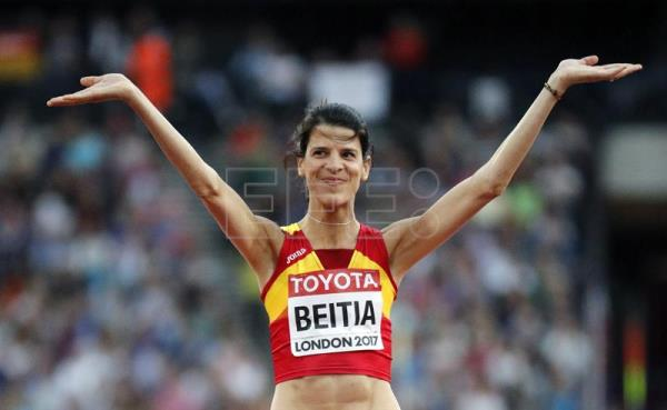 Spanish Ruth Beitia after being eliminated at the height jump final of the World Athletics Championship 2017, in London. EFE