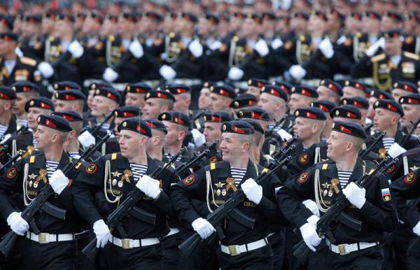 Russian navy soldiers march along the Red Square during a military parade in Moscow, Russia, May 9, 2017. EPA/SERGEI CHIRIKOV