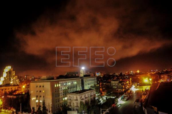 A handout photo made available by the official Syrian Arab News Agency (SANA) shows Syrian air defense systems during the attacks launched by the US, France and Britain on a number of sites in the surroundings of Damascus, Syria 14 April 2018. EFE