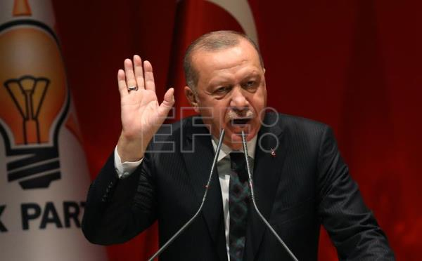 Turkish President Recep Tayyip Erdogan speaks in Ankara
