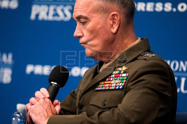 Joint Chiefs of Staff Chairman General Joseph Dunford speaks at a 'newsmaker luncheon' at the National Press Club in Washington, DC, USA, 19 June 2017. EPA/JIM LO SCALZO