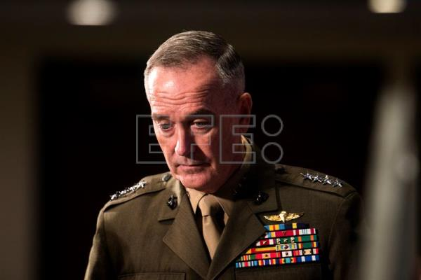 Joint Chiefs of Staff Chairman General Joseph Dunford prepares to speak at a 'newsmaker luncheon' at the National Press Club in Washington, DC, USA, 19 June 2017. EPA/JIM LO SCALZO
