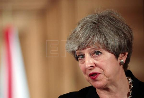 British Prime Minister Theresa May during a press conference after a meeting with Irish Taoiseach Leo Varadkar (not pictured) at 10 Downing Street in London, United Kingdom, June 19, 2017. EPA/SIMON DAWSON/POOL