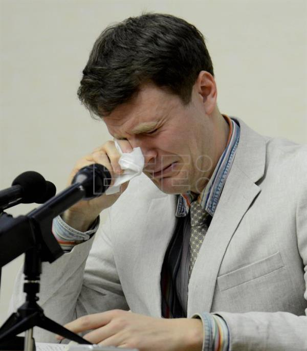 File photo provided by the official Korean Central News Agency (KCNA) shows Otto Frederick Warmbier, a University of Virginia student who has been detained in North Korea since January 2016, crying during a press conference at the People's Palace of Culture in Pyongyang, North Korea, 29 February 2016. EPA/KCNA
